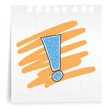 Exclamation mark  on paper Note. Hand draw exclamation mark cartoon_on paper Note Royalty Free Stock Photography
