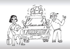 Hand draw family get away. Hand drawn illustration of a happy family standing in front of their new car Stock Image