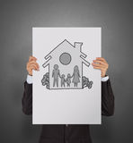 Hand draw family and house. As insurance concept stock image