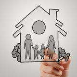 Hand draw family and house. As insurance concept royalty free stock photos