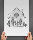 Hand draw family and house. As insurance concept stock photos