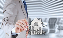 Hand draw family and house. As insurance concept stock images