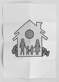 Hand draw family and house as insurance. Hand draw family and house on crumpled paper as insurance concept stock photography