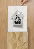 Hand draw family and house icon Royalty Free Stock Image