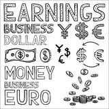 Hand draw finance and money doodle sketch business. Icon, dollar euro sign papper currency Stock Photo