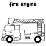 Hand draw of fire engine. Vector art Stock Images