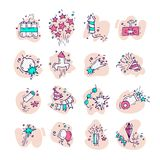 Hand draw firework icon set with petard, stars and pyrotechnics. Festival and event, celebrate and party. Vector. Illustration colorful icon Stock Image