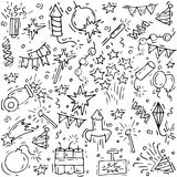 Hand draw firework icon set with petard, stars and pyrotechnics. Festival and event, celebrate and party. Vector pattern.  Stock Image