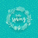 Doodle floral wreath with springtime greeting. Hand draw floral wreath with springtime greeting. Vector illustration Stock Image