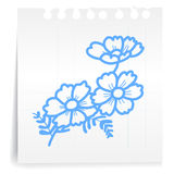 Flower on paper Note Stock Image
