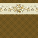 Hand draw  flower on checked brown background Stock Images