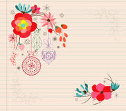 Hand draw flower doodle christmas ornament Royalty Free Stock Photo