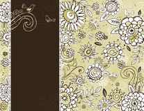 Hand draw  flowers on  beige background Stock Photos