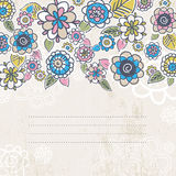 Hand draw flowers on beige background Royalty Free Stock Image