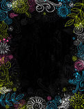 Hand draw  flowers on black background Stock Photography