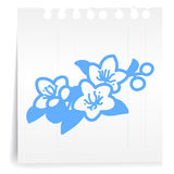 Flowers cartoon_on paper Note Royalty Free Stock Photos