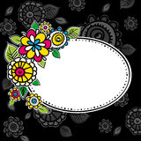 Hand draw flowers with circle frame Stock Images