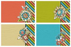 Hand draw  flowers on color  background Royalty Free Stock Photos