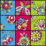 Hand draw  flowers in  color squares Stock Photography