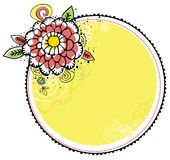 Hand draw flowers combine with circle frame Royalty Free Stock Photo
