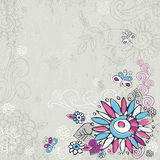Hand draw  flowers on grey background Royalty Free Stock Photo