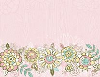 Hand draw  flowers on pink  background Stock Image