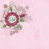 Hand draw  flowers on  pink grunge background Royalty Free Stock Image