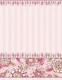 Hand draw  flowers on striped pink background Stock Image