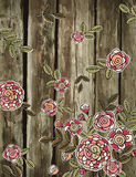 Hand draw  flowers on wooden background, vector Royalty Free Stock Image