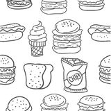 Hand draw of food various doodles Stock Image