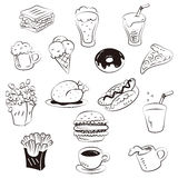Hand draw foods in doodle style Stock Photos