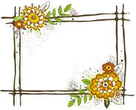 Hand draw frame with flowers vector illustration