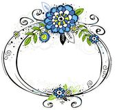 Hand draw frame with flowers Stock Photo