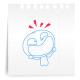 Frightened cartoon_on paper Note. Hand draw Frightened cartoon_on paper Note Royalty Free Stock Image