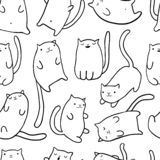 Hand draw funny cats. In sketch style. Vector seamless pattern. Cute cartoon kitten characters. Texture with doodle outline animals for kids design. Doodle royalty free illustration