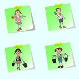 Hand draw gardener cartoon Stock Images
