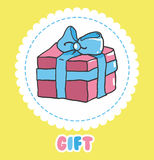 Hand draw Gift icon vector. Pink present box with bow Stock Photography
