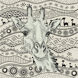 Hand draw giraffe portra on African hand draw ethno pattern, tribal background. Beautiful black woman. Profile view. Vector illust Royalty Free Stock Images