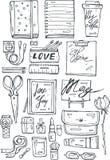Hand draw  girls stuff black icons set  on white background Royalty Free Stock Photo