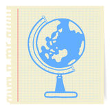 Globe cartoon on paper Note. Hand draw globe cartoon_on paper Note Stock Images