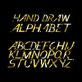 Hand draw gold alphabet letters under the classical bias. To design greeting cards, posters, banners, labels for Web sites, icons Stock Photos