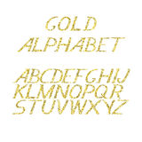 Hand draw gold alphabet letters under the classical bias. To design greeting cards, posters, banners, labels for Web sites, icons Royalty Free Stock Photos