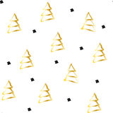 Hand draw gold fir-trees on white background. Stock Images