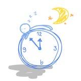 Goodnight cartoon. Hand draw Goodnight clock cartoon vector illustration