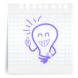 Great idea on paper Note. Hand draw great idea cartoon_on paper Note Royalty Free Stock Images