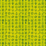 Hand draw green eco seamless pattern Royalty Free Stock Photos