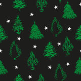 Hand draw green fir-trees and stars on black background. Christmas seamless pattern for textile and wrapping. Vector illustration Royalty Free Stock Photos