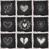 Hand drawn hearts on chalkboard Royalty Free Stock Images