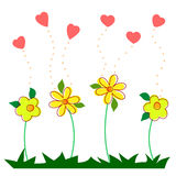 Hand draw Hearts and flowers. On White background Royalty Free Stock Photo