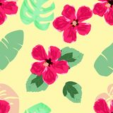 Hand draw hibiscus flower and tropical leaves seamless pattern.  Stock Photo